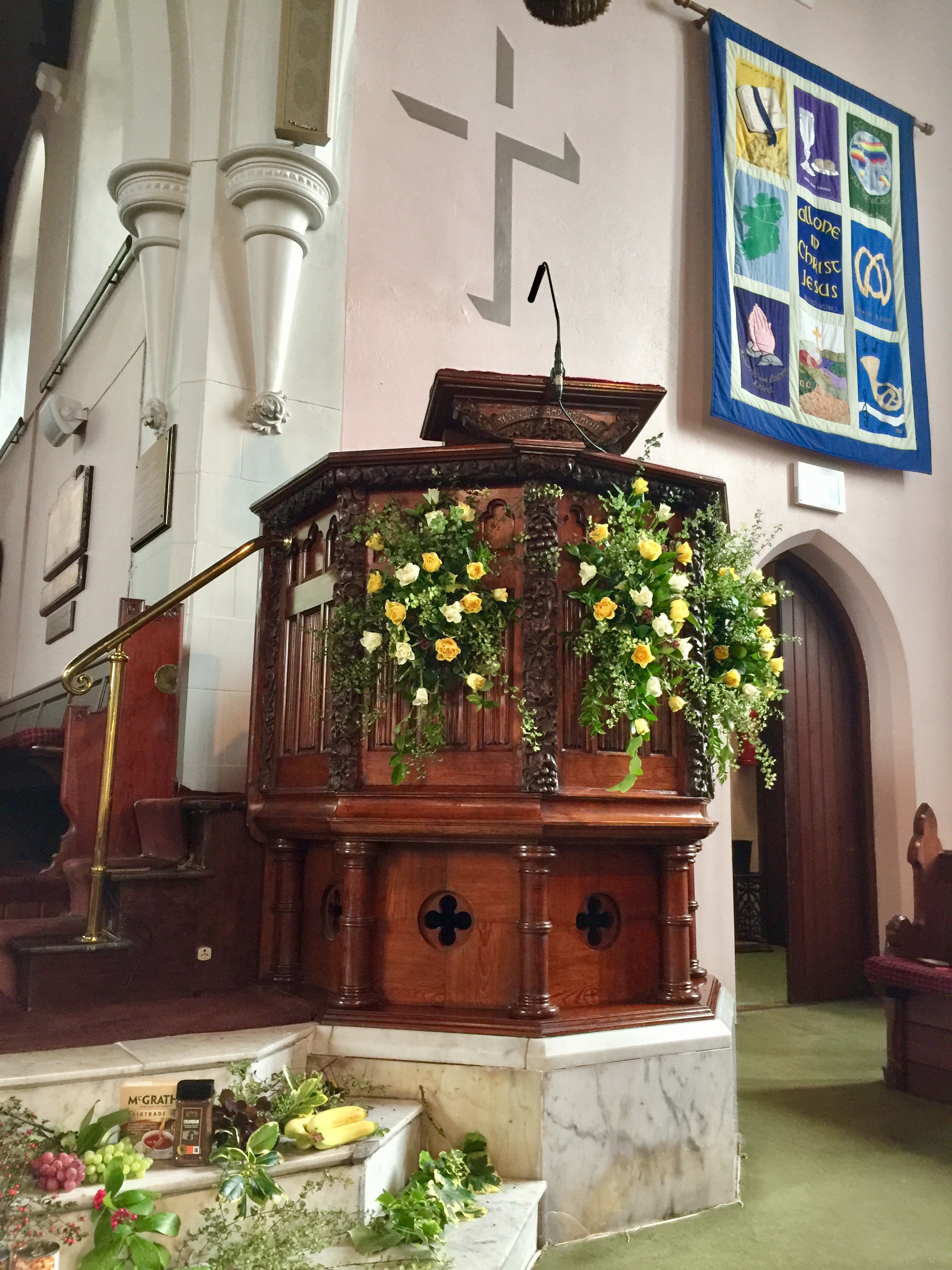 Pulpit decorated by Greta and Iris